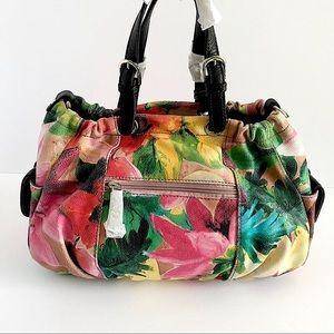 Soprano Genuine Leather Ruched Flower Satchel Bag